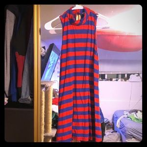 Dresses & Skirts - Blue & red striped sleeveless mini summer dress M